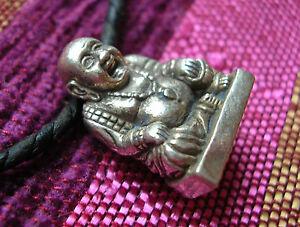 BUDAI-lachender-chinesischer-Buddha-Miniatur-Statue-Amulett-in-SILBER-MASSIV