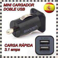 CARGADOR ADAPTADOR MECHERO COCHE USB DOBLE NEGRO MOVIL SAMSUNG SONY NOKIA IPHONE