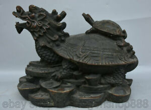 "13,6 ""Vieux Bronze Chinois Feng Shui Dragon Tortue Tortue Richesse Sculpture"