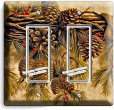 PINE CONES DOUBLE GFI LIGHT SWITCH WALL PLATE COVER HOME WOOD CABIN RUSTIC DECOR