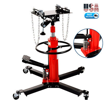 1100Lbs 2 Stage Adjustable Height Hydraulic Transmission Jack Auto Shop Car Lift