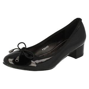 *SALE* Spot On F9814 Ladies Black Patent Court Shoes