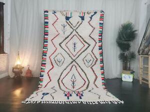 "Azilal Moroccan Tribal Handmade Rug 4'6""x8' Geometric Berber White Wool Carpet"