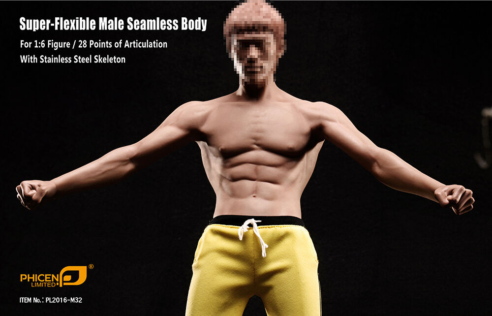 Phicen Super-Flexible Asia Male Kung Fu Seamless Body w/ shorts 1/6 (NO HEAD)