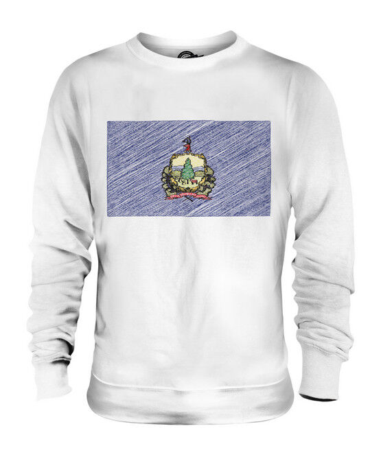 VERMONT STATE SCRIBBLE FLAG UNISEX SWEATER  TOP GIFT VERMONTER FOOTBALL