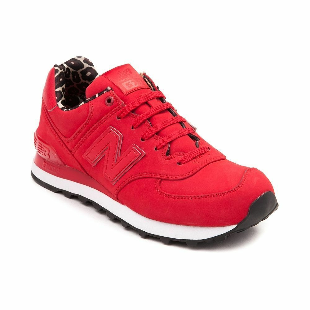 New Womens New Balance 574 High Roller Athletic shoes Red Leopard Print