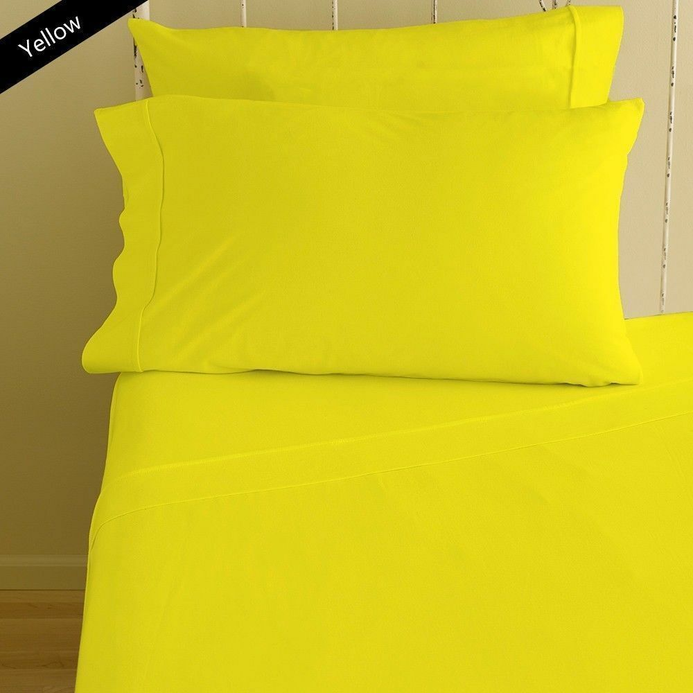 1000TC 100% BEST EGYPTIAN COTTON HOME BEDDING SETS YELLOW SOLID SELECT ITEM&SIZE