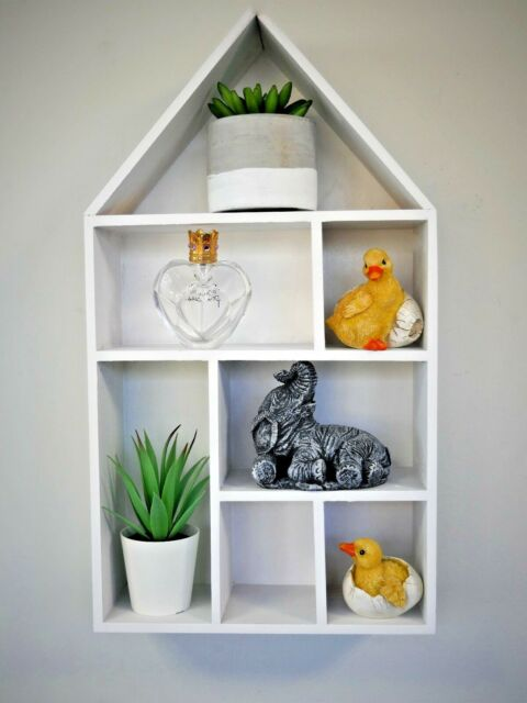 White Wooden House Wall Shelf Unique Home Decor Hanging Shabby Chic Display Unit