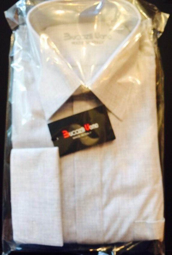 NIP BUCCELLI UOMO 100% Cotton Light grau Button Down Shirt SZ 41/16