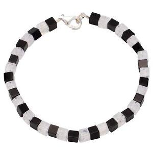 Armband-aus-Onyx-amp-Bergkristall-amp-925-Silber-schwarz-weiss-Armschmuck-fuer-Damen