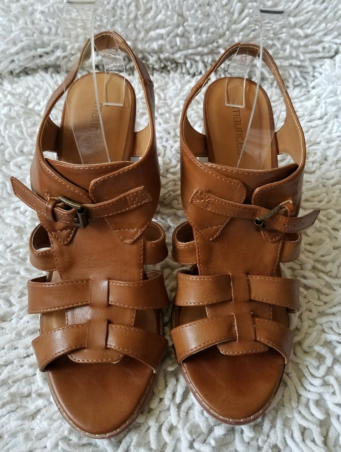 MAURICES Womens Lady City Strap Chestnut Heels Sandals shoes Sz 10 M