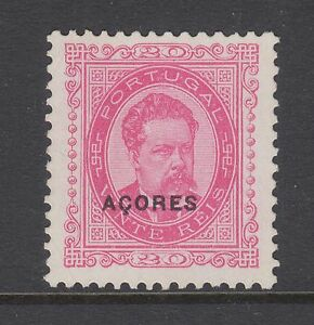 Azores Sc 61 MNG. 1897 20r pink King Luiz of Portugal, almost VF