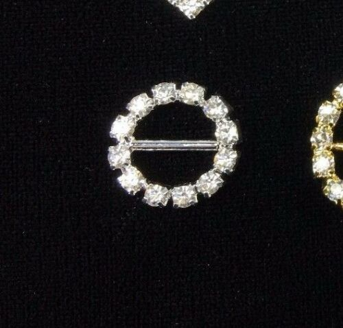 RHINESTONE BUCKLE CIRCLE HEART EMBELLISHMENTS GOLD SILVER SLIDER ARCH OVAL DIY