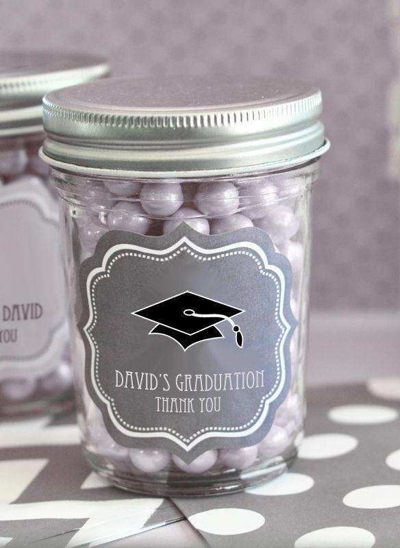 48 Personalized Graduation Theme Mini Mason Jars Graduation Party Favors