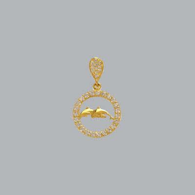 NEW 14K YELLOW GOLD LADIES FANCY DOLPHINS CIRCLE CZ PENDANT