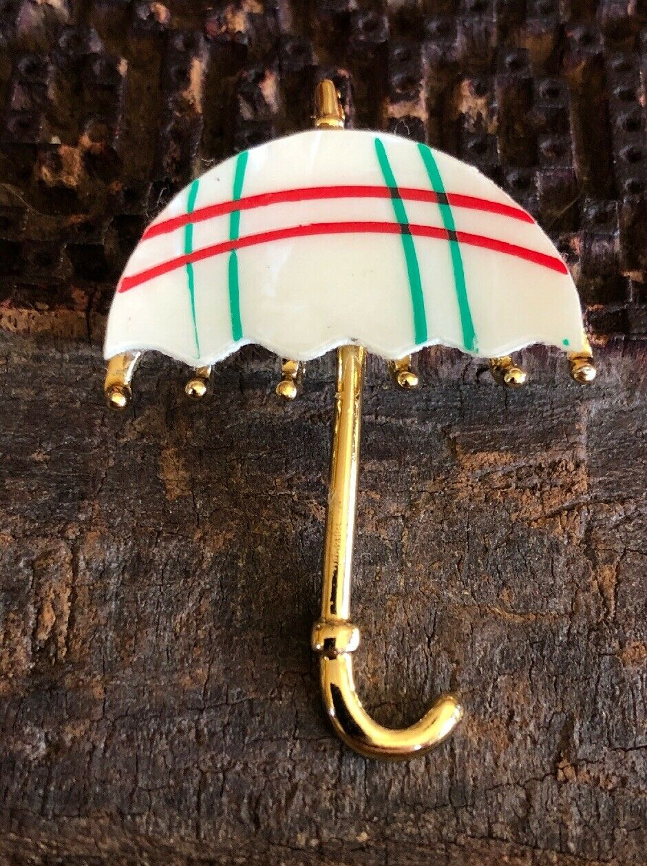 Cute Vintage 1970s Mother Of Pearl Red Green Umbr… - image 2