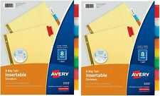 Avery 8 Tab Binder Dividers Insertable Multicolor Big Sturdy Reinforced 2 Set