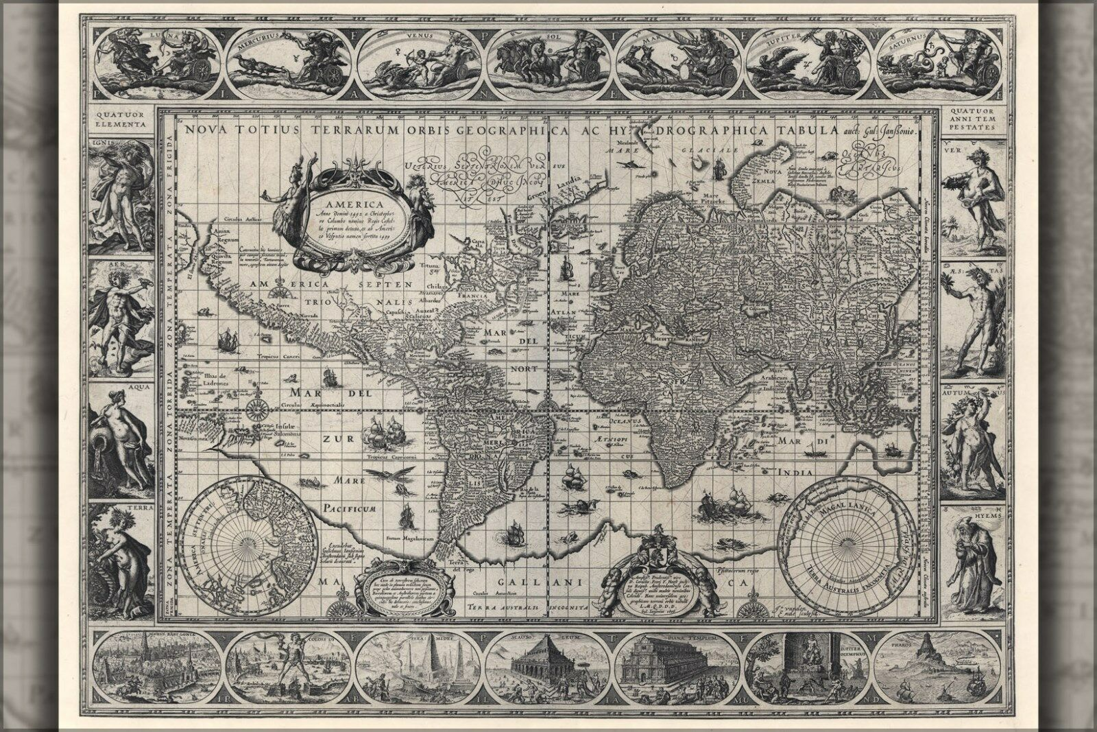 Poster, Many Dimensiones; Nova Totius Hydrographica Tabula World Map 1606
