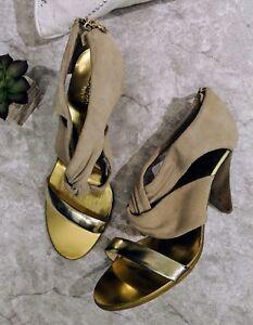85a35d7dce58 MICHAEL Kors women s 7.5 tan suede brown knot gold strap heel sandal ...