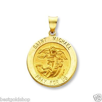 14k Yellow Gold St Michael Pendant Charm Pray For Us Medallion SOLID GOLD