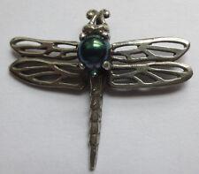 Silver Dragonfly Pendant w/ Aqua Aura Bead Dragonfly Totem
