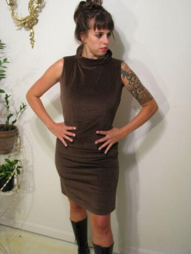 Unique Backless Brown Shiny Sheath 90s Goth Cyberp