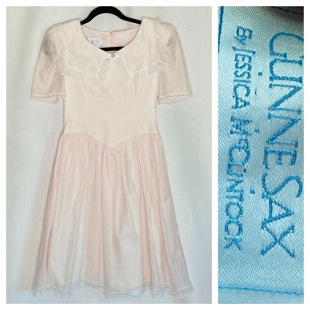 Vintage 80s Gunne Sax Girls Pink Party Dress Size… - image 1