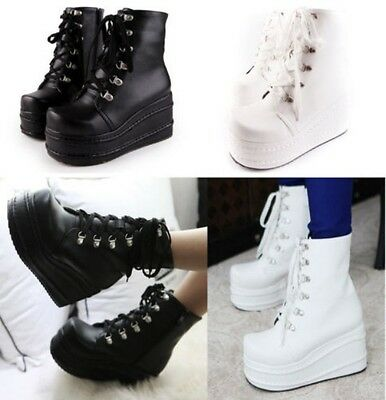 Women's Punk High Flatform Gothic Lace Up Flat Ankle Combat Boots Size UK2.5-8
