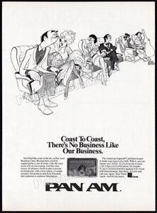 PAN-AM-Airlines-AL-HIRSCHFELD-Original-1988-Trade-print-AD-promo-Amex