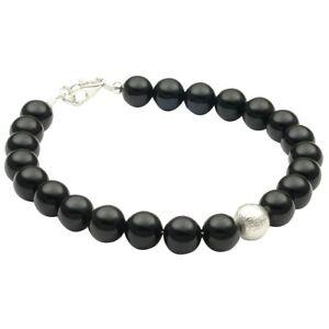 Armband-aus-echtem-Onyx-amp-925-Silber-schwarz-Armschmuck-Armkette-Damen