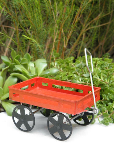 Miniature Dollhouse FAIRY GARDEN Accessories ~ Rustic Red Tin Wagon ~ NEW