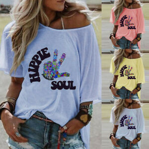 Women-039-s-O-Neck-Short-Sleeve-HIPPIE-SOUL-Letter-Printed-Blouse-Loose-T-Shirt-Tops