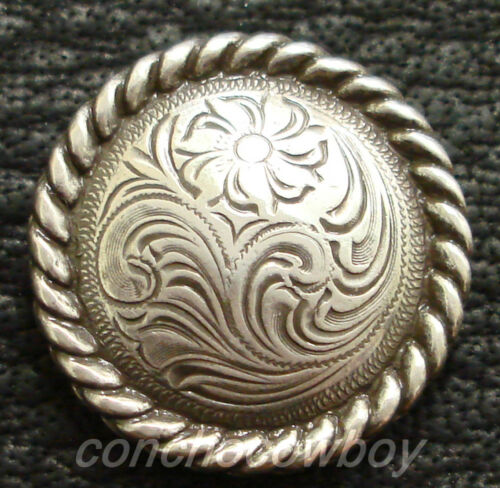 WESTERN SADDLE HEADSTALL HORSE TACK ANTIQUE ENGRAVED ROPE EDGE CONCHO screw back