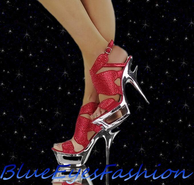 High Heels red Luxus Disco Glitzer Sexy Partyschuhe Strass Abendschuhe 35 41