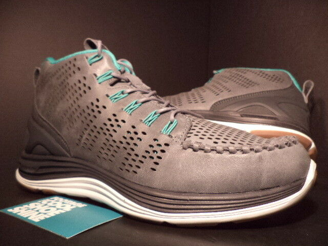 Nike LUNAR CHENCHUKKA CHUKKA QS COOL GREY WHITE GREEN ANTHRACITE 553553-001 9.5
