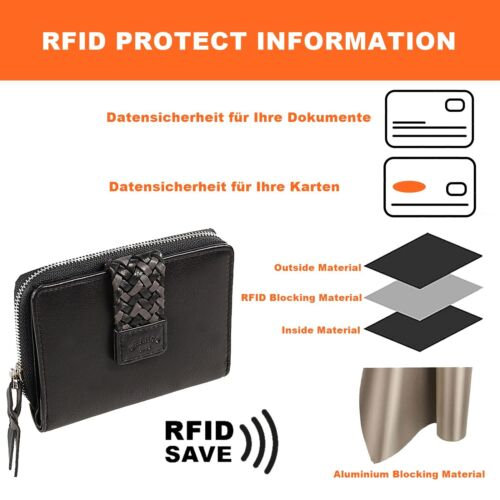 Branco Damen Reißverschluss Geldbörse Leder Geldbeutel RFID Damenbörse 56013