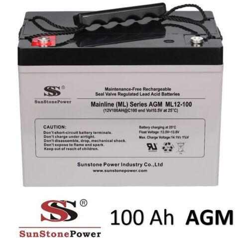 12 V 100ah AGM Gel Batterie Batterie solaire onduleur camping-car bateau solaire c100