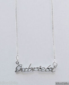 f5541b164fd92 Details about 925 Sterling Silver Name Necklace - Name Plate - GABRIELA 17