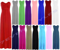 LADIES SLEEVELESS BOW TIE KNOT  BANDEAU BOOBTUBE LONG JERSEY TOP MAXI DRESS 8-14
