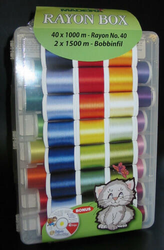 Bobbinfil Nadeln und Design-CD Madeira Stickgarn-Box 40 Spulen Rayon 1000m