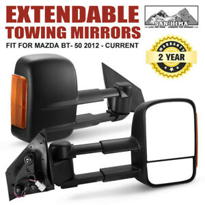OUTRANGER Towing Mirrors Extendable MAZDA BT- 50 2012 On Black with Indicators