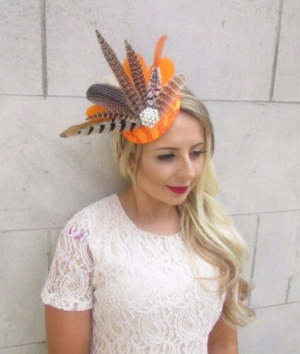 Orange White Brown Pheasant Feather Fascinator Pillbox Hat Races Wedding 3643