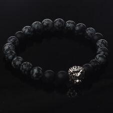 New Men's Spot Snowflakes Stone Silver Lion Fashion Beaded Charm Women Bracelet
