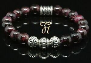 Granat-Armband-Bracelet-Perlenarmband-Silber-Beads-rot-8mm