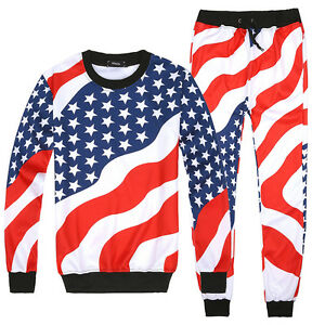 42b87242bc9d Men Women 3D USA American Flag Print Sweatshirt Jogger pants Hiphop ...