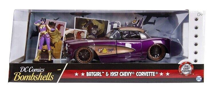DC Bombskal Chevrolet Corvette 1957 med Batgirl Figur 1 24 (Jada 30457)