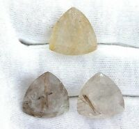 One 19mm Trillion Trilliant Golden Rutilated Quartz Gemstone Gem Stone T2ma2