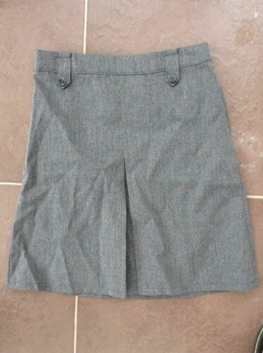 New George Asda Girls Grey School Skirt Uniform Age 5-6 Years DM01