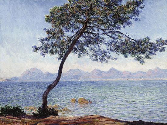 Claude Monet  Antibes Keilrahmen-Bild Leinwand Klassiker Küste Strand Baum