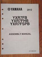 Genuine Yamaha 2012 Yxr7 Assembly Manual Atv 4 Wheeler